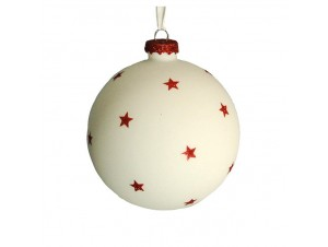 Άσπρη Γυάλινη Χριστουγεννιάτικη Μπάλα με Αστέρια 8 εκ.