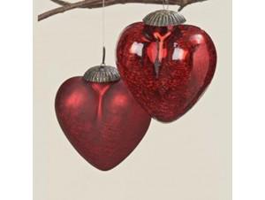 Set 2 τμχ. Κόκκινο Γυάλινο Χριστουγεννιάτικο Στολίδι Καρδιά 7,5 εκ.
