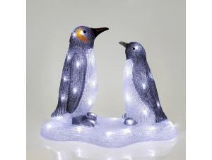 Φωτιζόμενοι Χριστουγεννιάτικοι διακοσμητικοί πιγκουίνοι 47 x 25 x 38 εκ.