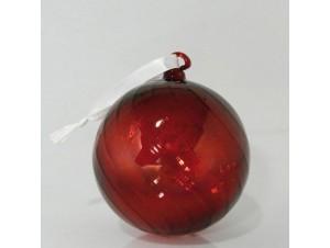 Γυάλινη κόκκινη μπάλα Χριστουγέννων 10 εκ.