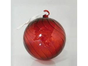 Γυάλινη κόκκινη μπάλα Χριστουγέννων 12 εκ.
