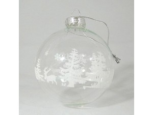 Γυάλινη Χριστουγεννιάτικη μπάλα με άσπρη διακόσμηση 8 εκ.