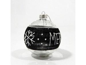 Γυάλινη Χριστουγεννιάτικη μπάλα με μαύρη διακόσμηση 8 εκ.