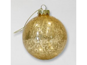 Vintage χρυσή Χριστουγεννιάτικη μπάλα διακόσμησης 8 εκ.