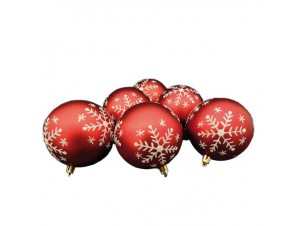 Set 6 τμχ Κόκκινες Χριστουγεννιάτικες μπάλες 8εκ.