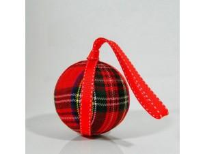 Υφασμάτινη κόκκινη Χριστουγεννιάτικη μπάλα 9 εκ.