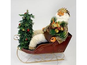 Χριστουγεννιάτικος διακοσμητικός Άγιος Βασίλης σε έλκηθρο 150 εκ.