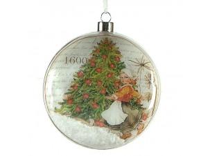 Πλακέ Χριστουγεννιάτικη μπάλα διακόσμησης 10 εκ.