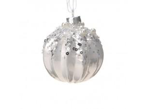Με παγιέτες Χριστουγεννιάτικη μπάλα ασημί 6 εκ.