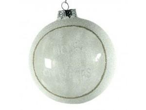 Γυάλινη  Χριστουγεννιάτικη μπάλα με ευχή 10 εκ.