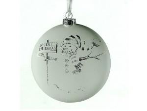 Γυάλινη μπάλα Χριστουγεννιάτικης διακόσμησης με σχέδιο 10εκ.