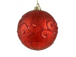 Κόκκινη Γυάλινη ανάγλυφη Χριστουγεννιάτικη μπάλα 10 εκ.