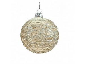 Διάφανη Χριστουγεννιάτικη μπάλα με διακόσμηση 8 εκ.