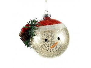 Γυάλινη Χριστουγεννιάτικη μπάλα Χιονάνθρωπος 8 εκ.