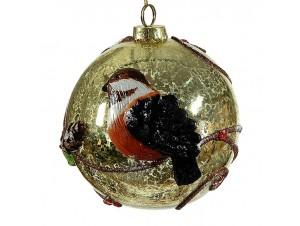 Vintage χρυσή Χριστουγεννιάτικη μπάλα διακόσμησης 10 εκ.