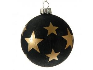 Μαύρη γυάλινη Χριστουγεννιάτικη μπάλα διακόσμησης 8 εκ.