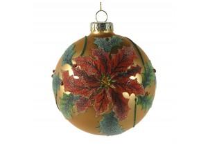 Ανάγλυφη χρυσή Χριστουγεννιάτικη μπάλα με γκλίτερ 10 εκ.