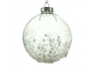 Διάφανη Χριστουγεννιάτικη μπάλα διακόσμησης  8 εκ.