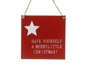 Ξύλινο Χριστουγεννιάτικο στολίδι πινακάκι με κείμενο 10 εκ.