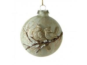 Ζωγραφιστή Χριστουγεννιάτικη μπάλα  9 εκ. με ανάγλυφα σχέδια