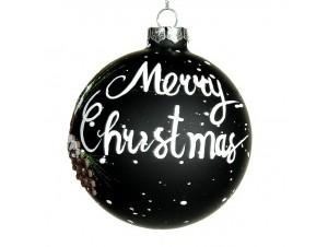 Μαύρη γυάλινη Χριστουγεννιάτικη μπάλα με ευχή 10 εκ.