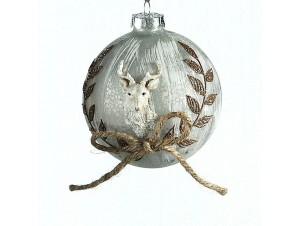 Γυάλινη χριστουγεννιάτικη μπάλα με ανάγλυφο ελάφι 10 εκ.