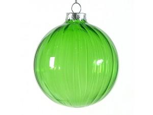 Πράσινη διάφανη Χριστουγεννιάτικη μπάλα 8 εκ.