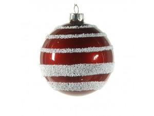 Κόκκινη Χριστουγεννιάτικη μπάλα με λευκή διακόσμηση 8 εκ.