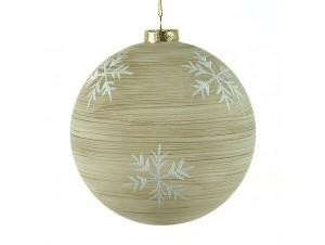 Γυάλινη Χριστουγεννιάτικη μπάλα χρυσή με σχέδιο 8 εκ.