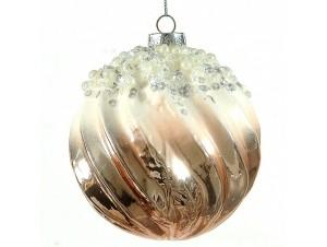 Δίχρωμη γυαλιστερή Χριστουγεννιάτικη μπάλα 10 εκ.