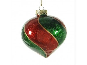 Δίχρωμη γυαλιστερή Χριστουγεννιάτικη μπάλα διακόσμησης 8 εκ.