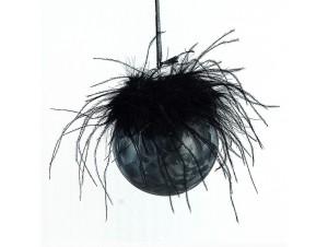 Μαύρη Χριστουγεννιάτικη μπάλα διακόσμησης 10 εκ.