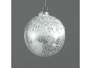 Ασημί Χριστουγεννιάτικη μπάλα διακόσμησης 8 εκ.