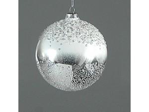 Ασημί Χριστουγεννιάτικη μπάλα διακόσμησης 10 εκ.