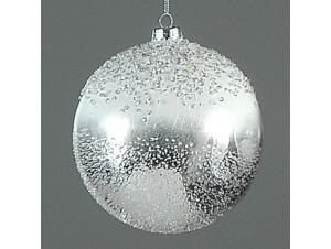 Ασημί Χριστουγεννιάτικη μπάλα διακόσμησης 12 εκ.