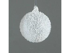 Άσπρη Χριστουγεννιάτικη μπάλα διακόσμησης 8 εκ.