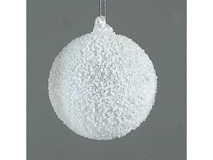 Άσπρη Χριστουγεννιάτικη μπάλα διακόσμησης 10 εκ.