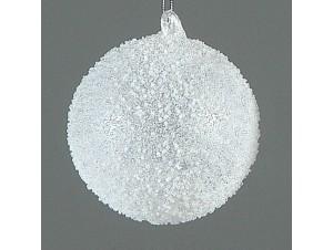 Άσπρη Χριστουγεννιάτικη μπάλα διακόσμησης 12 εκ.