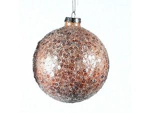 Καφέ Χριστουγεννιάτικη μπάλα διακόσμησης 10 εκ.