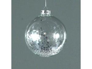 Διάφανη Χριστουγεννιάτικη μπάλα διακόσμησης με γέμισμα 10 εκ.