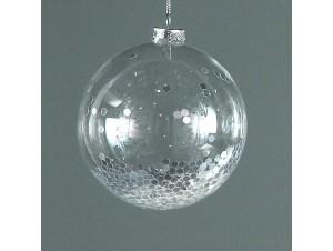 Διάφανη Χριστουγεννιάτικη μπάλα διακόσμησης με γέμισμα 12 εκ.