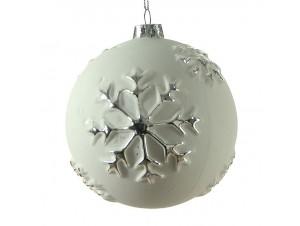 Γυάλινη ανάγλυφη Χριστουγεννιάτικη μπάλα 12 εκ.