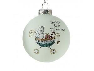 Γυάλινη  Χριστουγεννιάτικη παιδική μπάλα διακόσμησης 8 εκ.