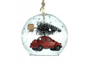 Διάφανη γυάλινη Χριστουγεννιάτικη μπάλα με γέμισμα