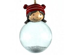 Γυάλινη διάφανη μπάλα Χριστουγέννων σε σχήμα κορίτσι 8 x 12 εκ.