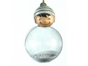 Γυάλινη διάφανη μπάλα Χριστουγέννων σε σχήμα αγόρι 8 x 12 εκ.