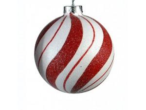 Γυάλινη δίχρωμη μπάλα για Χριστουγεννιάτικο δέντρου 8 εκ.