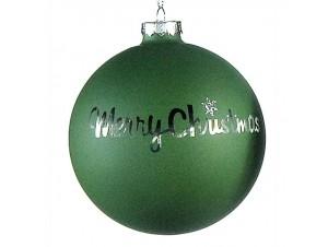Πράσινη γυάλινη διακοσμητική μπάλα Χριστουγέννων 10 εκ.