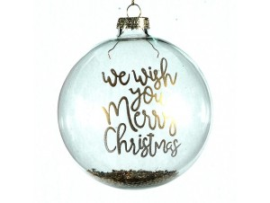 Γυάλινη Χριστουγεννιάτικη μπάλα με χρυσή ευχή 10 εκ.