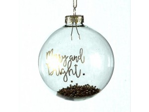 Γυάλινη Χριστουγεννιάτικη μπάλα με χρυσή ευχή 8 εκ.